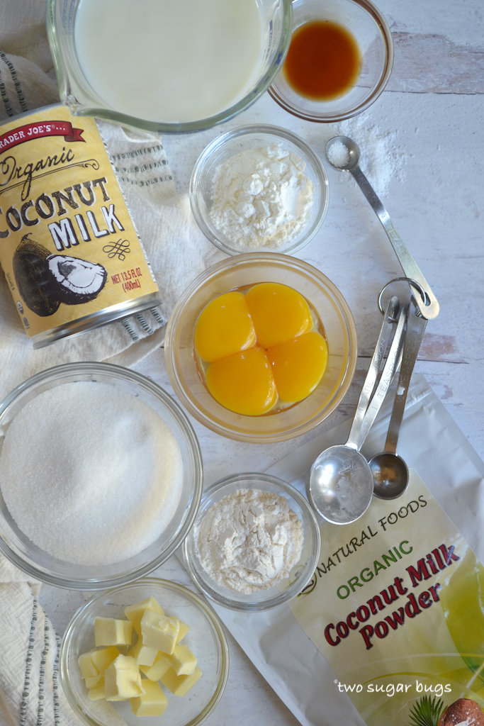 ingredients for coconut pastry cream