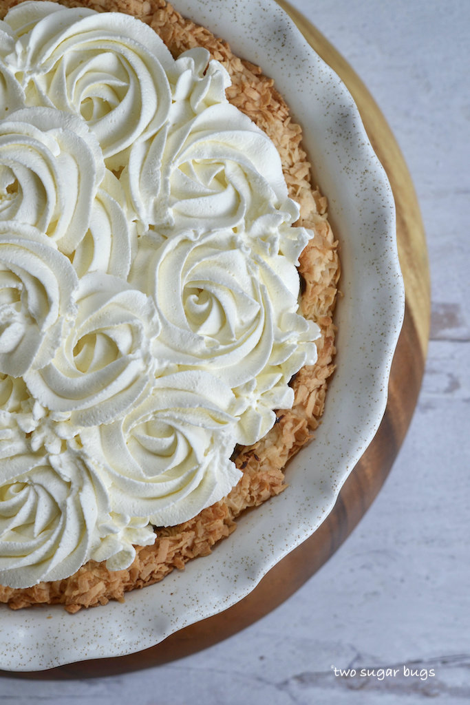 close up of whipped cream on pie