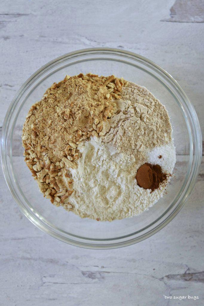Dry ingredients for pretzel graham crust