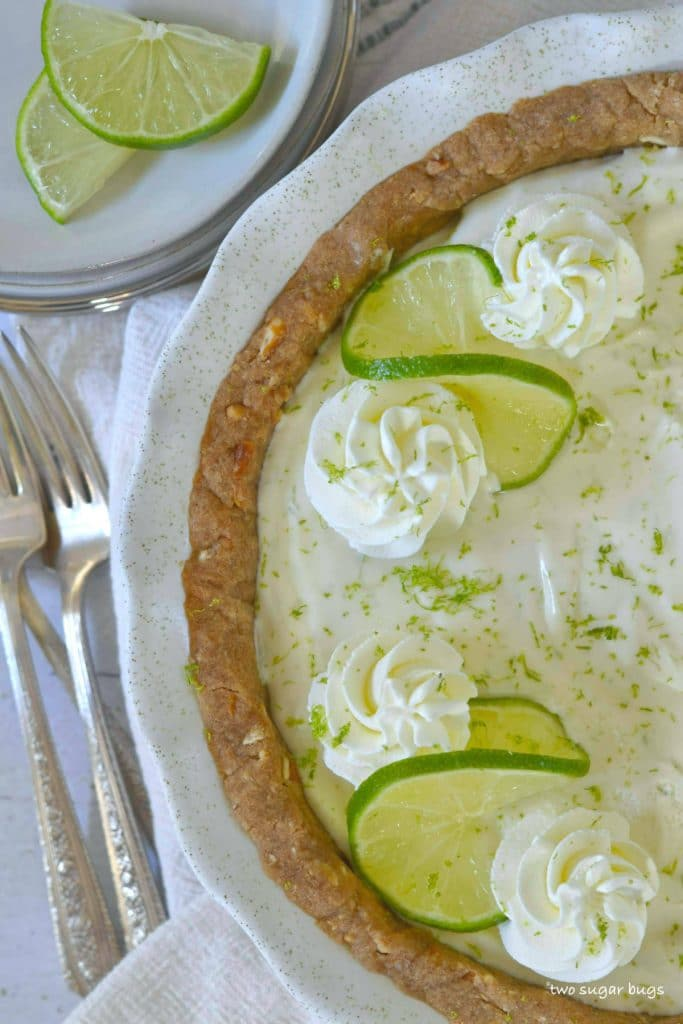 Margarita pie with plates and forks