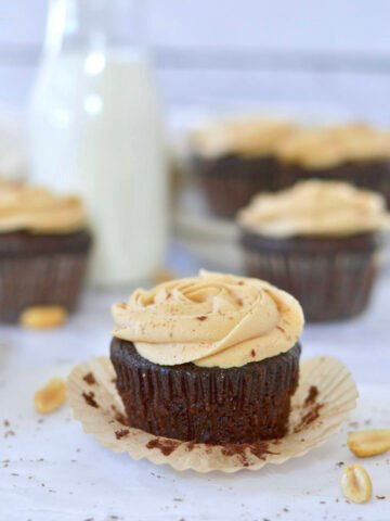 chocolate peanut butter cupcake with the wrapper off
