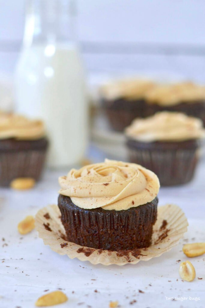 dairy free chocolate peanut butter cupcake with the wrapper off
