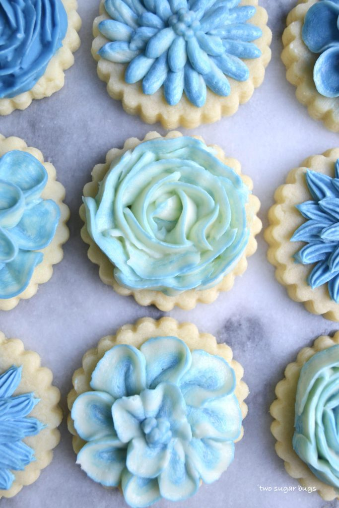 sugar cookies with blue buttercream