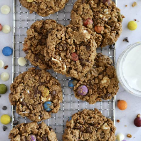 monster cookies and milk with m&m's and chocolate chips