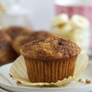 banana bran muffin on a plate