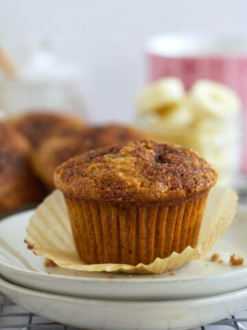 banana bran muffin on a plate
