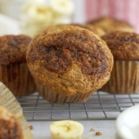 muffin tipped to show cinnamon sugar top