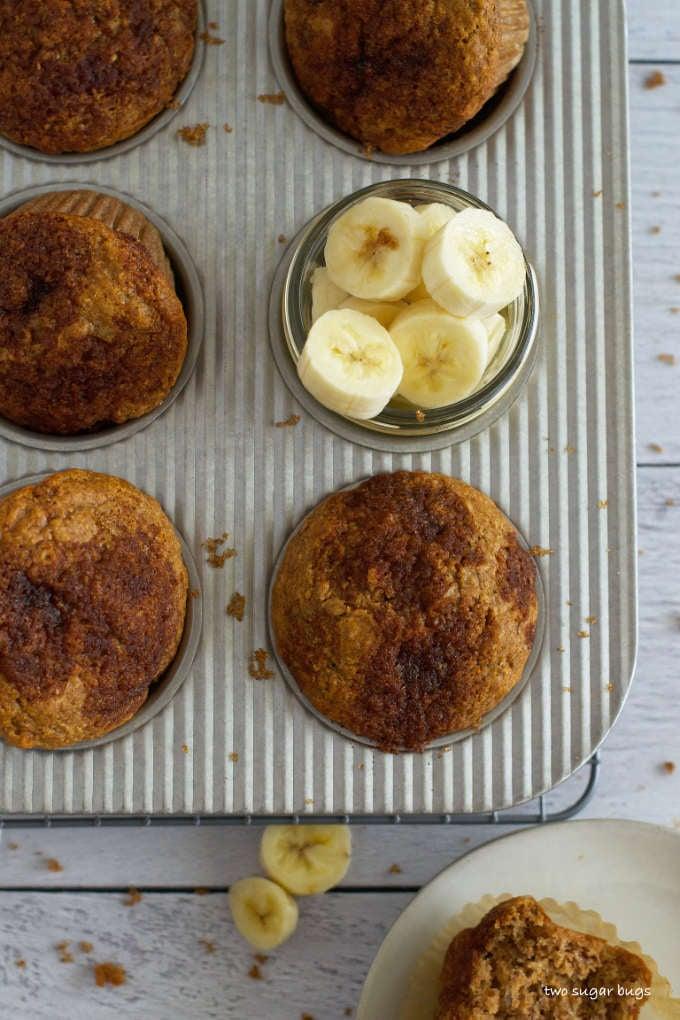 banana bran muffins in a muffin tin