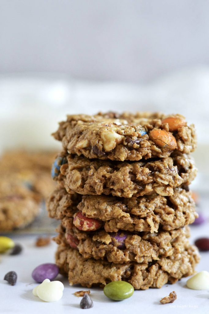 stack of flourless monster cookies