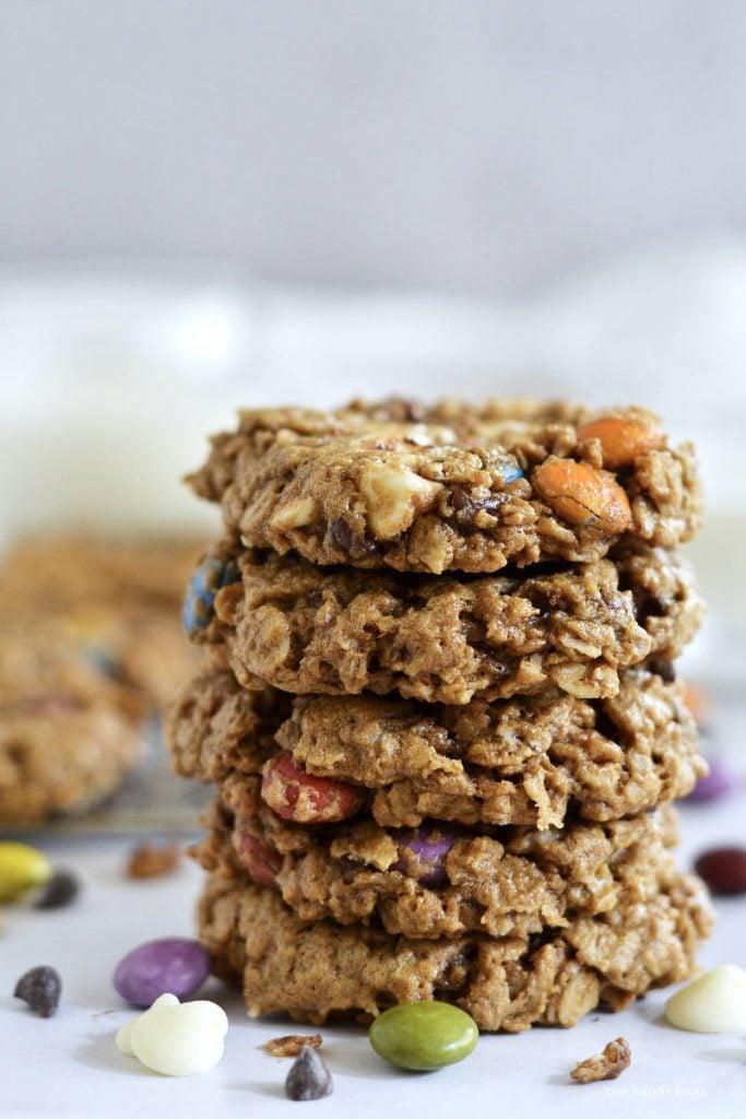 stack of flourless monster cookies