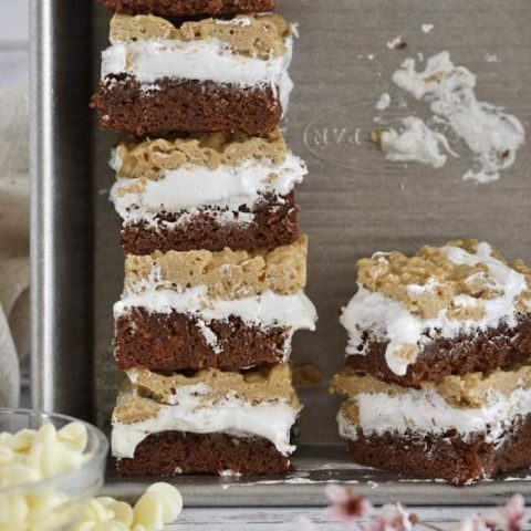 stack of SunButter crunch bars in a baking pan