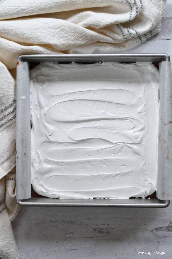 marshmallow layer in baking pan