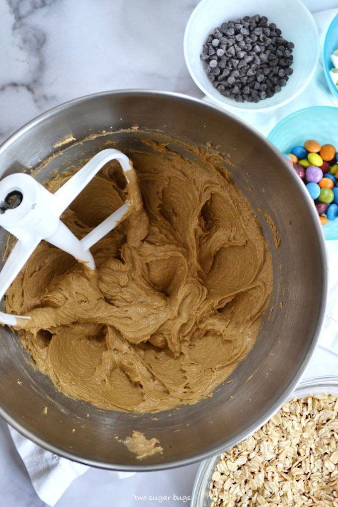 creamed wet ingredients for monster cookies
