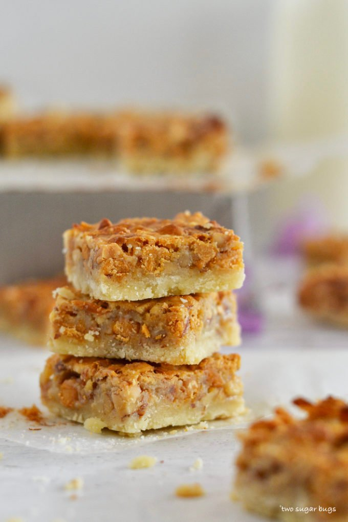 stack of three butterscotch nut bars