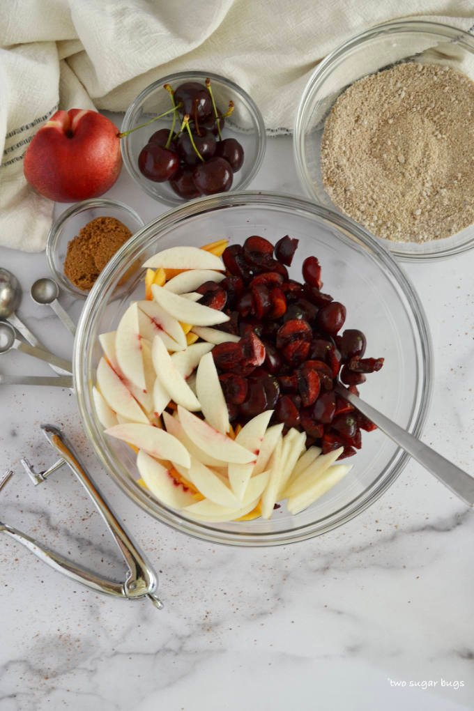 ingredients for the cherry nectarine filling