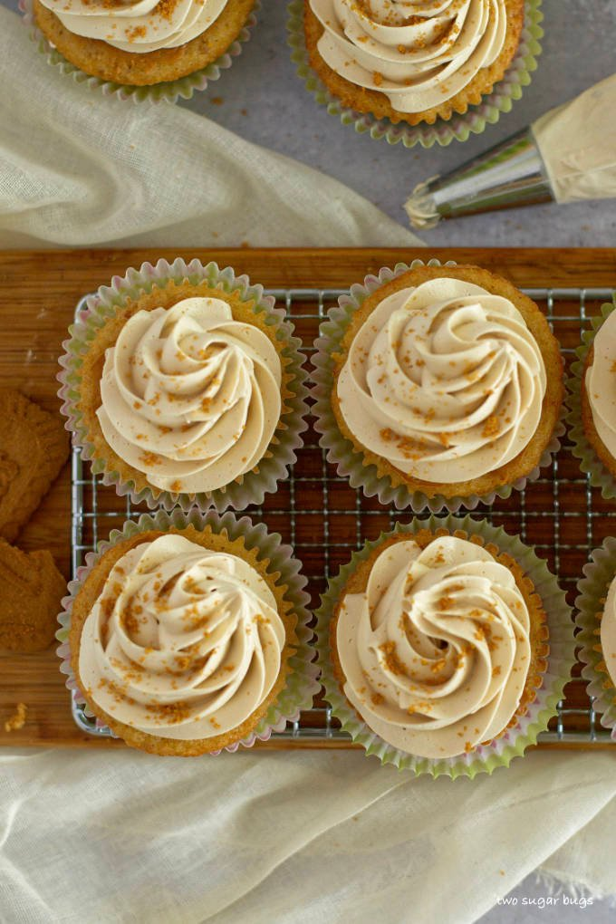 overhead look at frosted biscoff cookie butter cupcakes