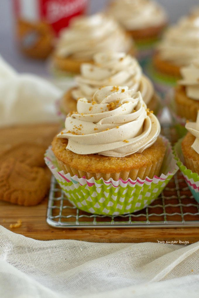 decorated biscoff cookie butter cupcake in a bright cupcake wrapper