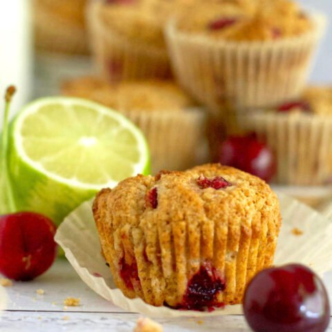 cherry lime muffin with wrapper pulled back