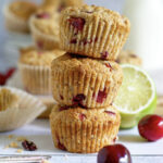 stack of three cherry lime muffins