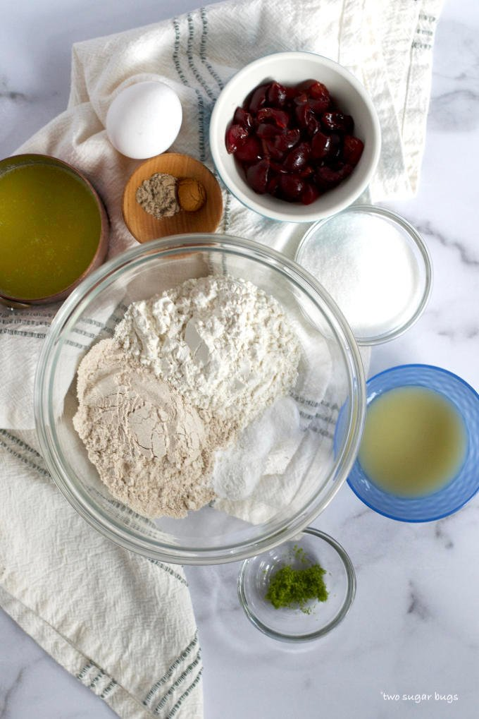 ingredients for cherry lime muffins