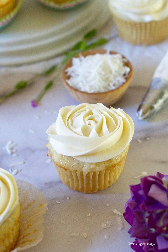 vanilla rum coconut cupcake with vanilla rum buttercream