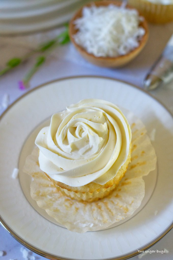 vanilla rum coconut cupcake on a plate