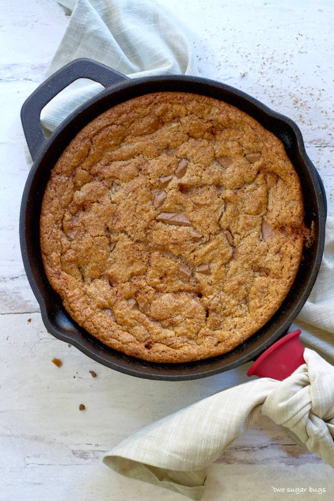 skillet cookie right out of the oven