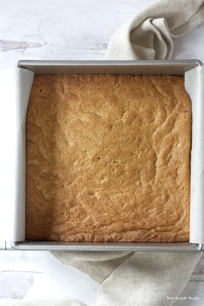 baked peanut butter blondies in a baking pan