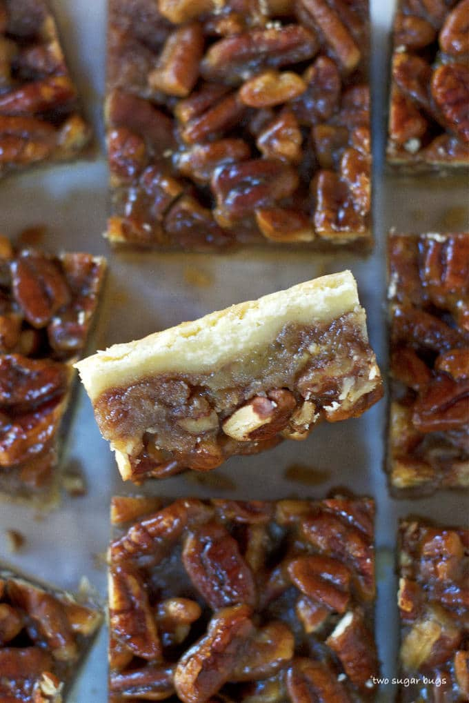 banana pecan bar on it's side to show layers