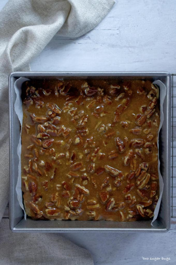 unbaked banana pecan bars in a baking pan