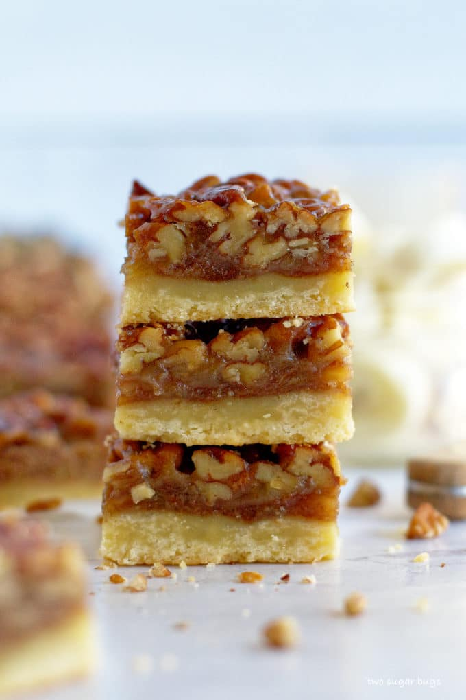 stack of three banana pecan bars