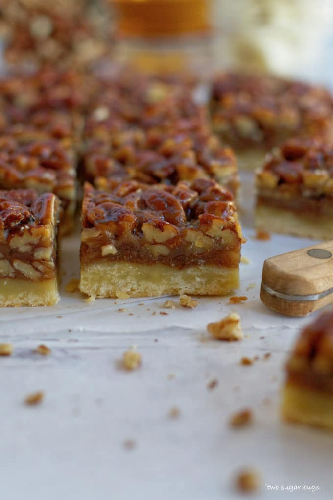 banana pecan bar showing layers