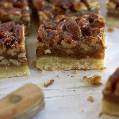 close up of a banana pecan bar