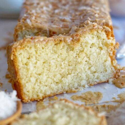 slice of kona coconut loaf cake
