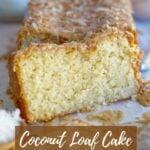 kona coconut loaf cake pinterest graphic
