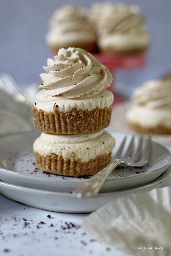 two peanut butter espresso cheesecakes stacked on a plate