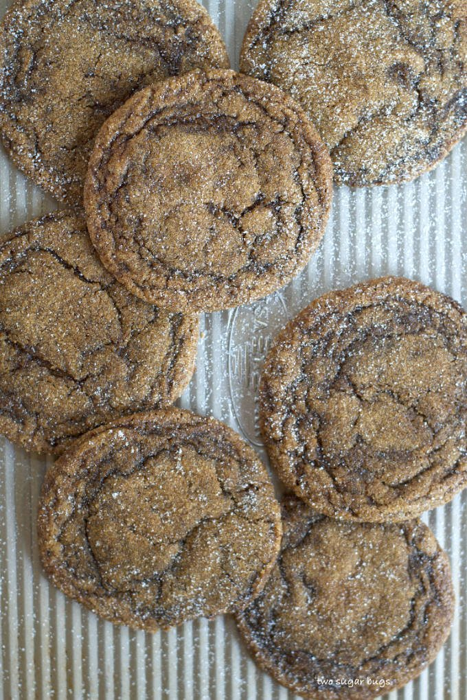 pumpkin gingerbread cookies on a baking sheet