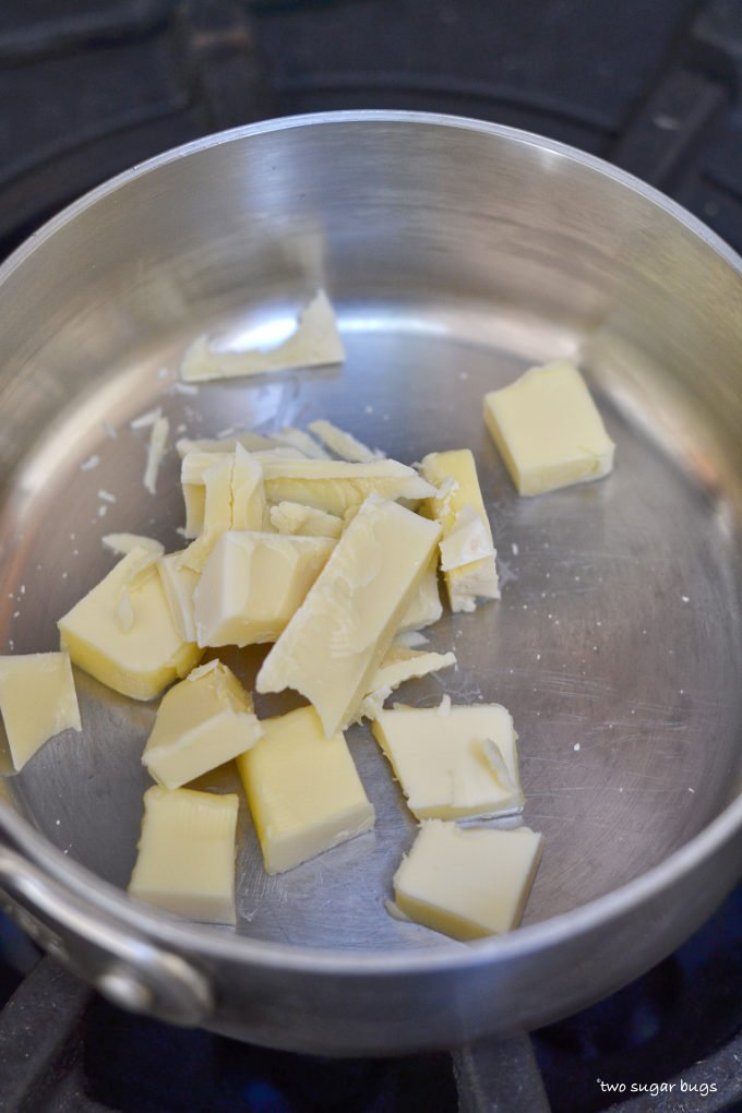 butter and white chocolate in a saucepan