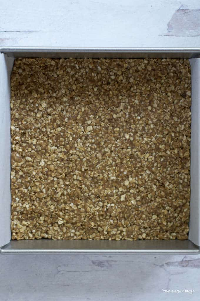 unbaked chai spice oatmeal base in baking pan