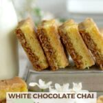 pinterest graphic for white chocolate chai brownies