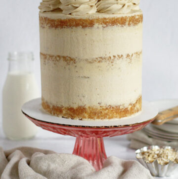brown sugar cake on a cake stand