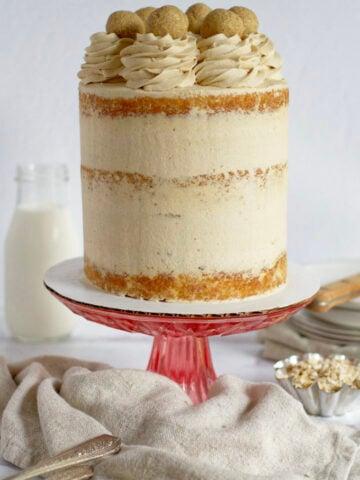 brown sugar cake on a cake stand