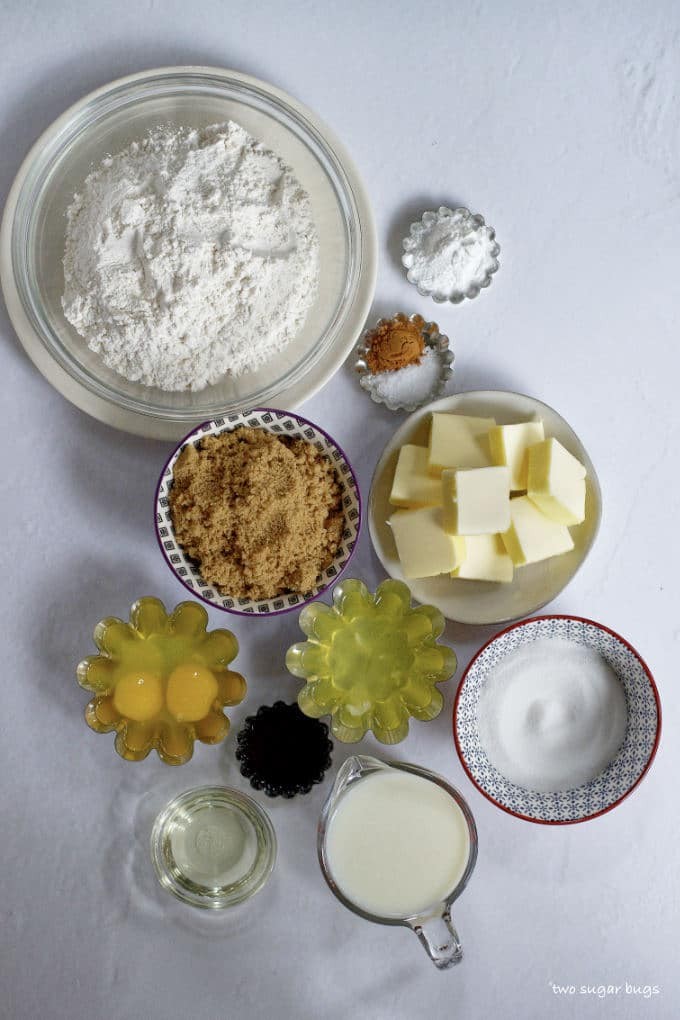 ingredients for brown sugar cake