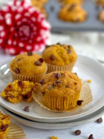 three mini muffins on a plate