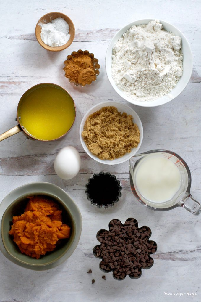 ingredients for mini pumpkin chocolate chip muffins