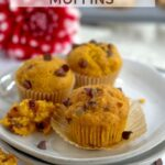 pinterest graphic for mini pumpkin chocolate chip muffins