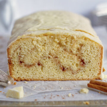 slice view of cinnamon white chocolate pound cake