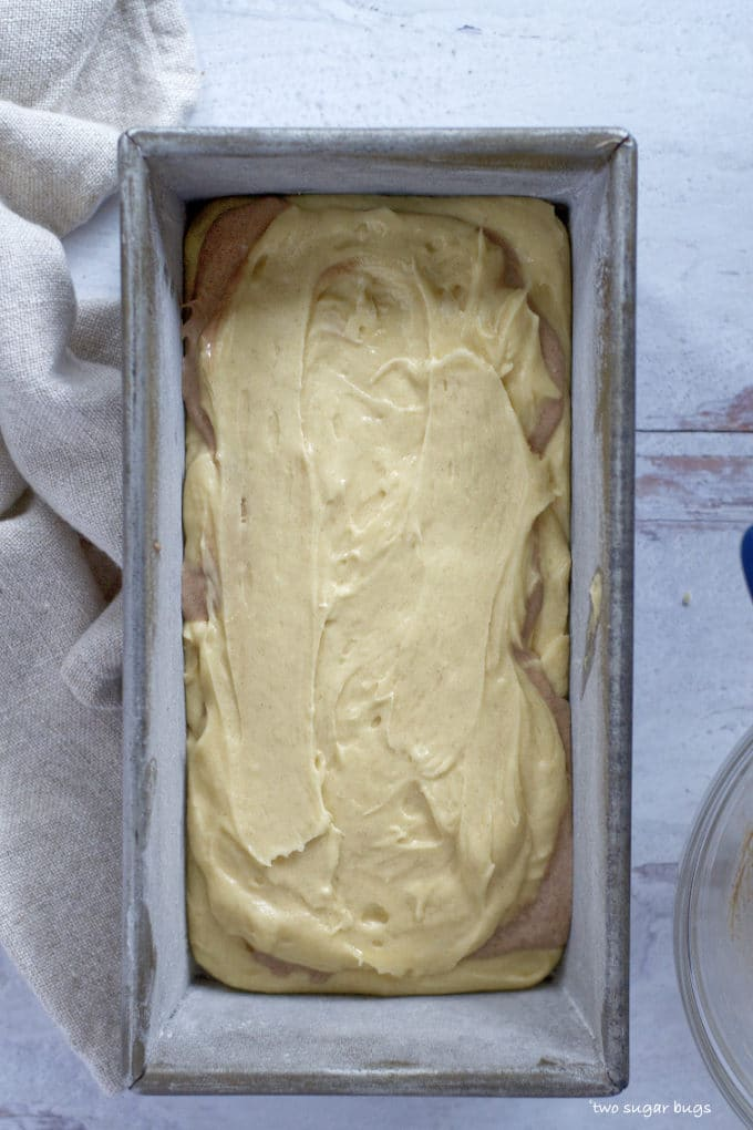 cake batter in a loaf pan