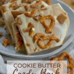 pinterest graphic for cookie butter white chocolate bark
