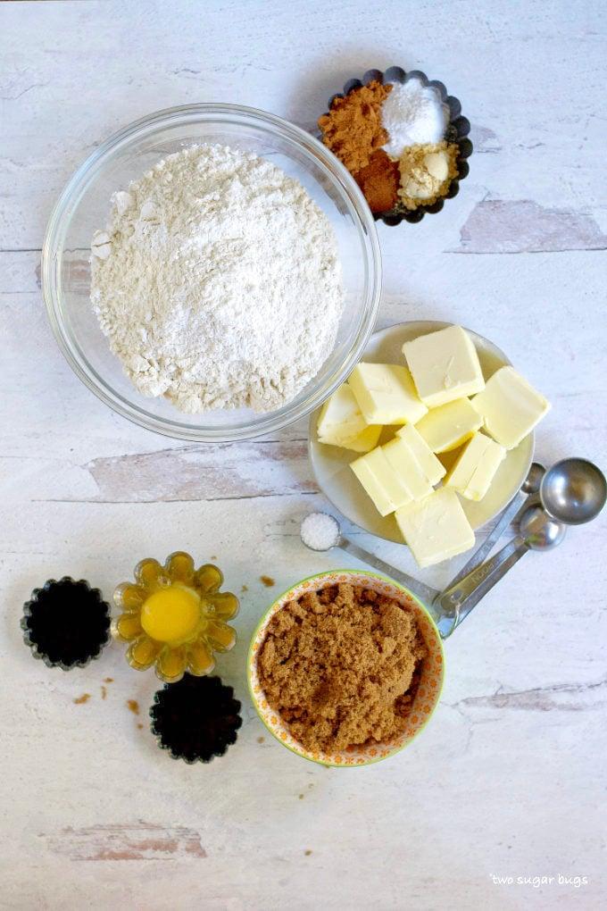 ingredients for soft gingerbread sugar cookies